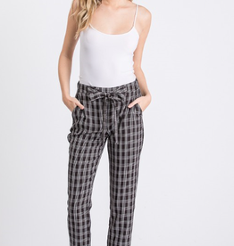 Must Have black double grid tie front pants