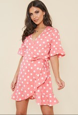 Influence Pink and White Spot Wrap Mini Dress