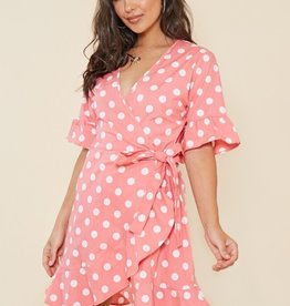 Influence Pink and White Spot Wrap Mini Dress