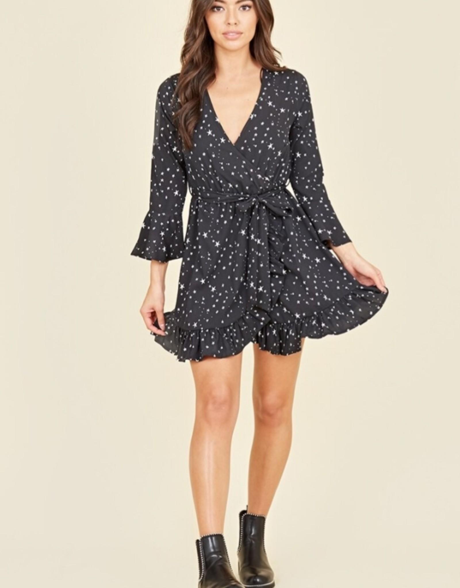 Influence ruffle cuff  mini dress in star print