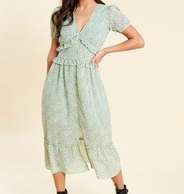 Influence sage spot print ruffle and button detail midi tea dress