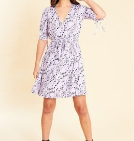 Influence Lilac floral print wrap skater dress