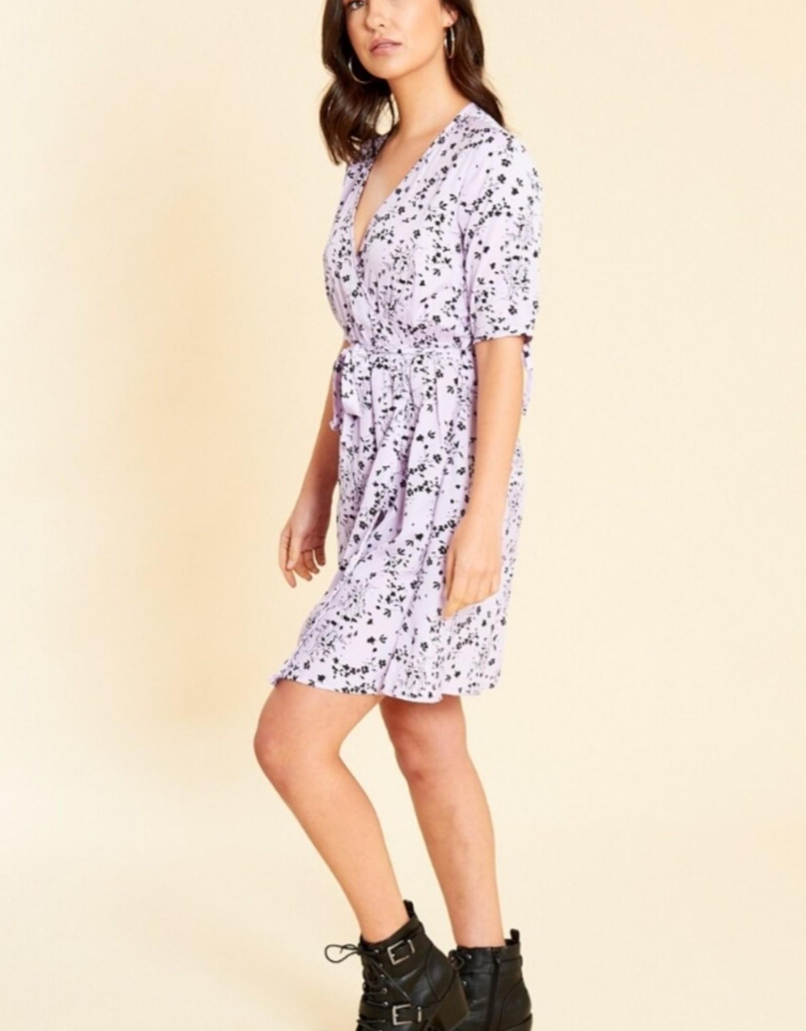 Influence Lilac floral print wrap skater dress
