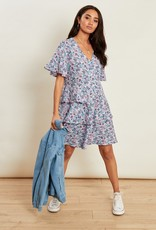 Influence ditsy floral print tiered button down smock dress