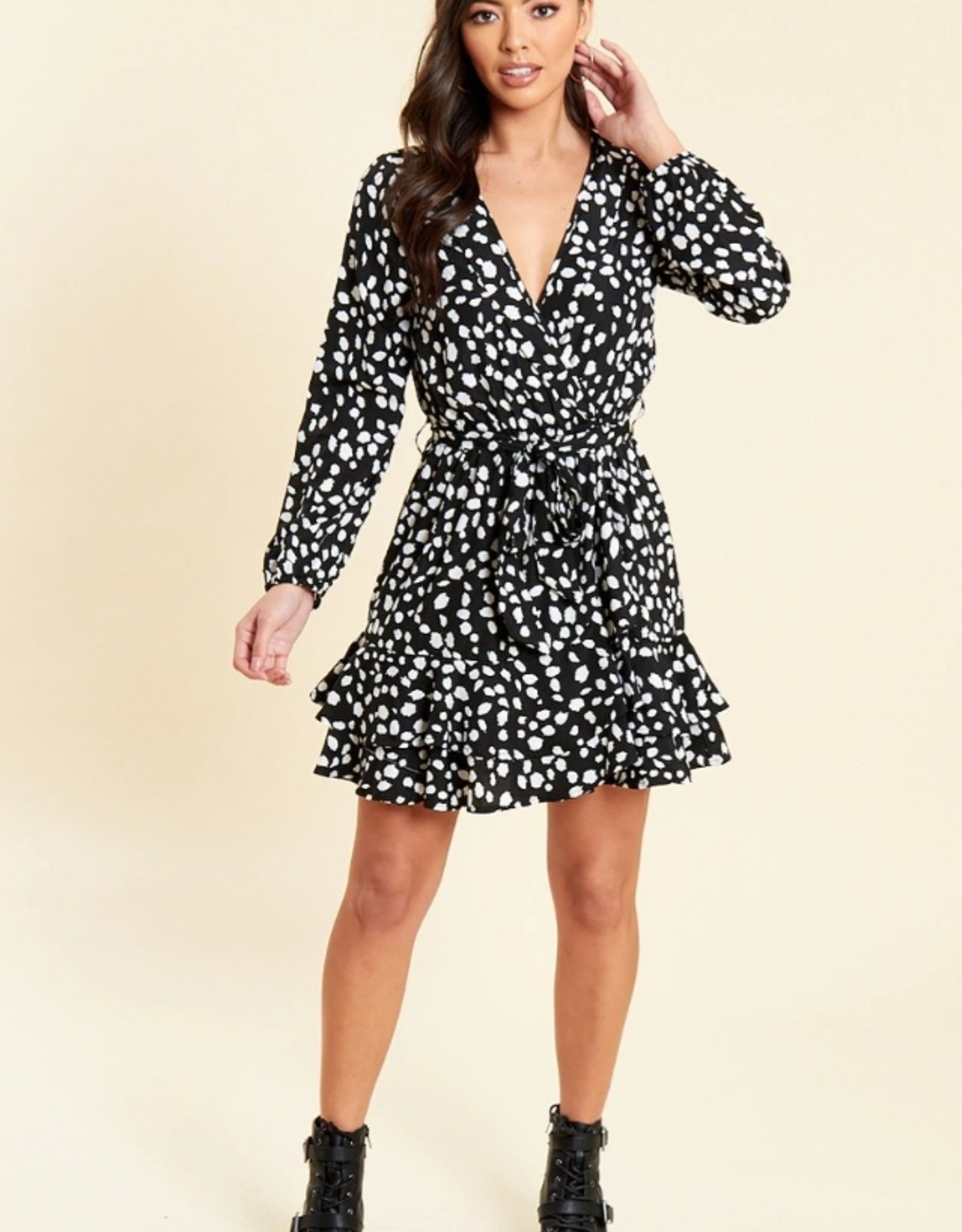 Influence black animal print ruffle wrap dress