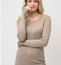 Cielo round neck cable knit sweater