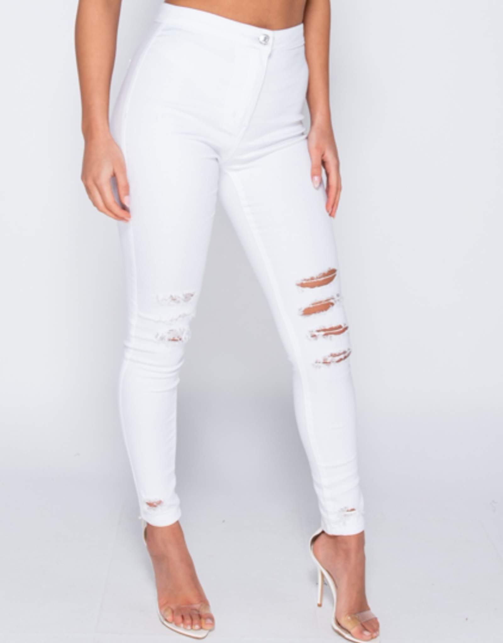 Parisian Multi Knee Rip High Waisted Jeggings