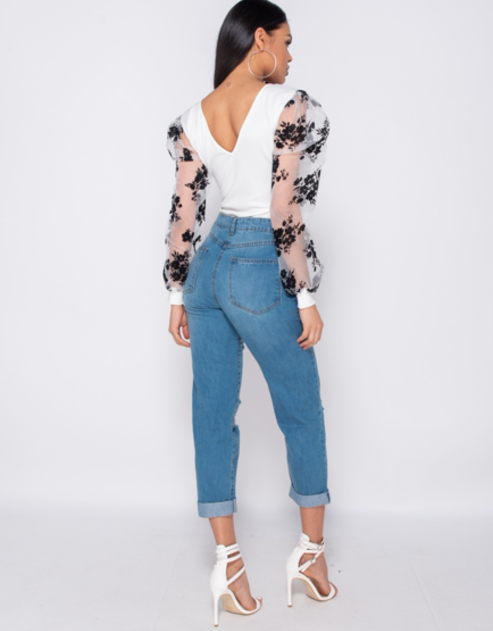 Parisian Multi Rip Turn Up Hem Boyfriend Jeans