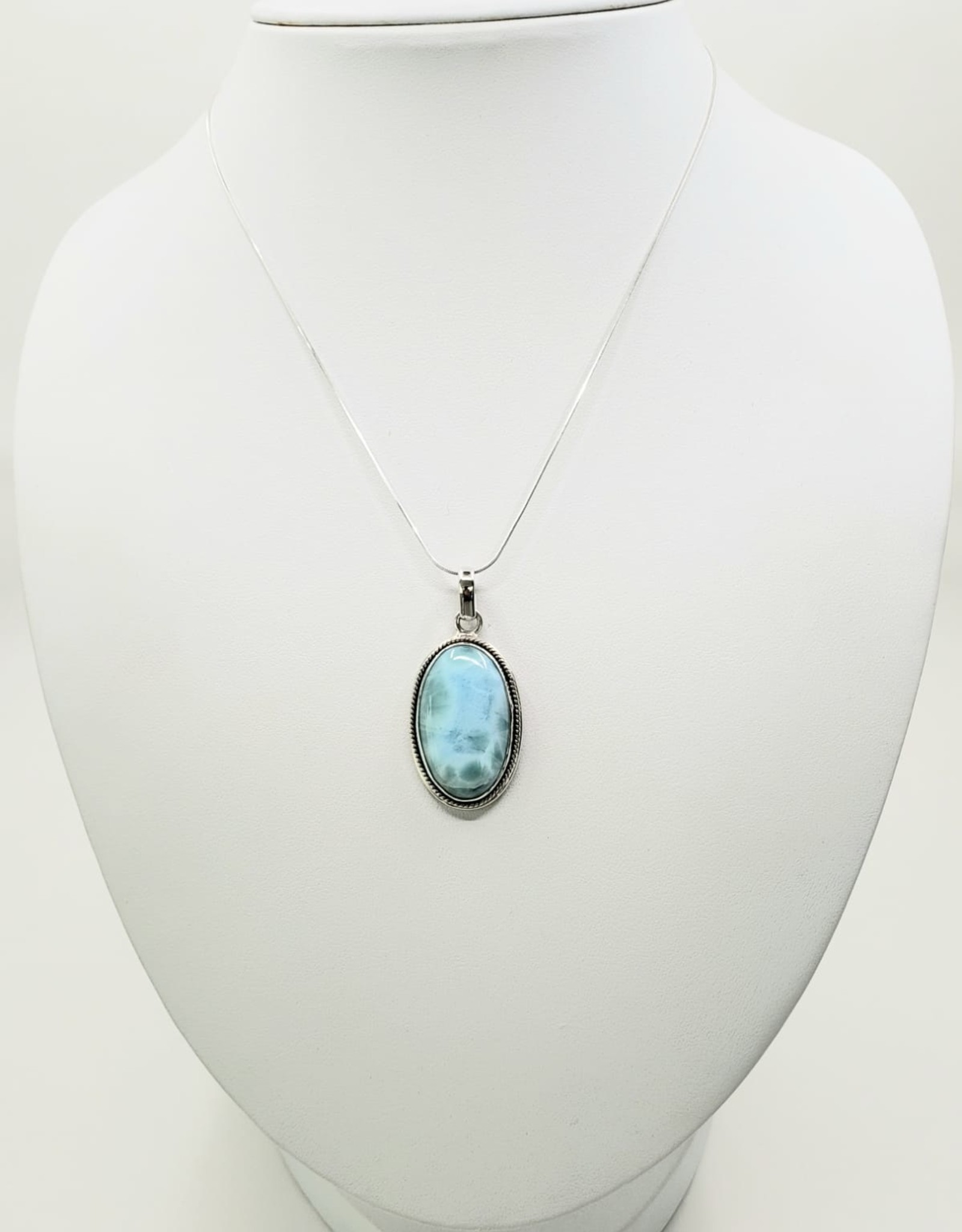 larimar pendant  oval, etched