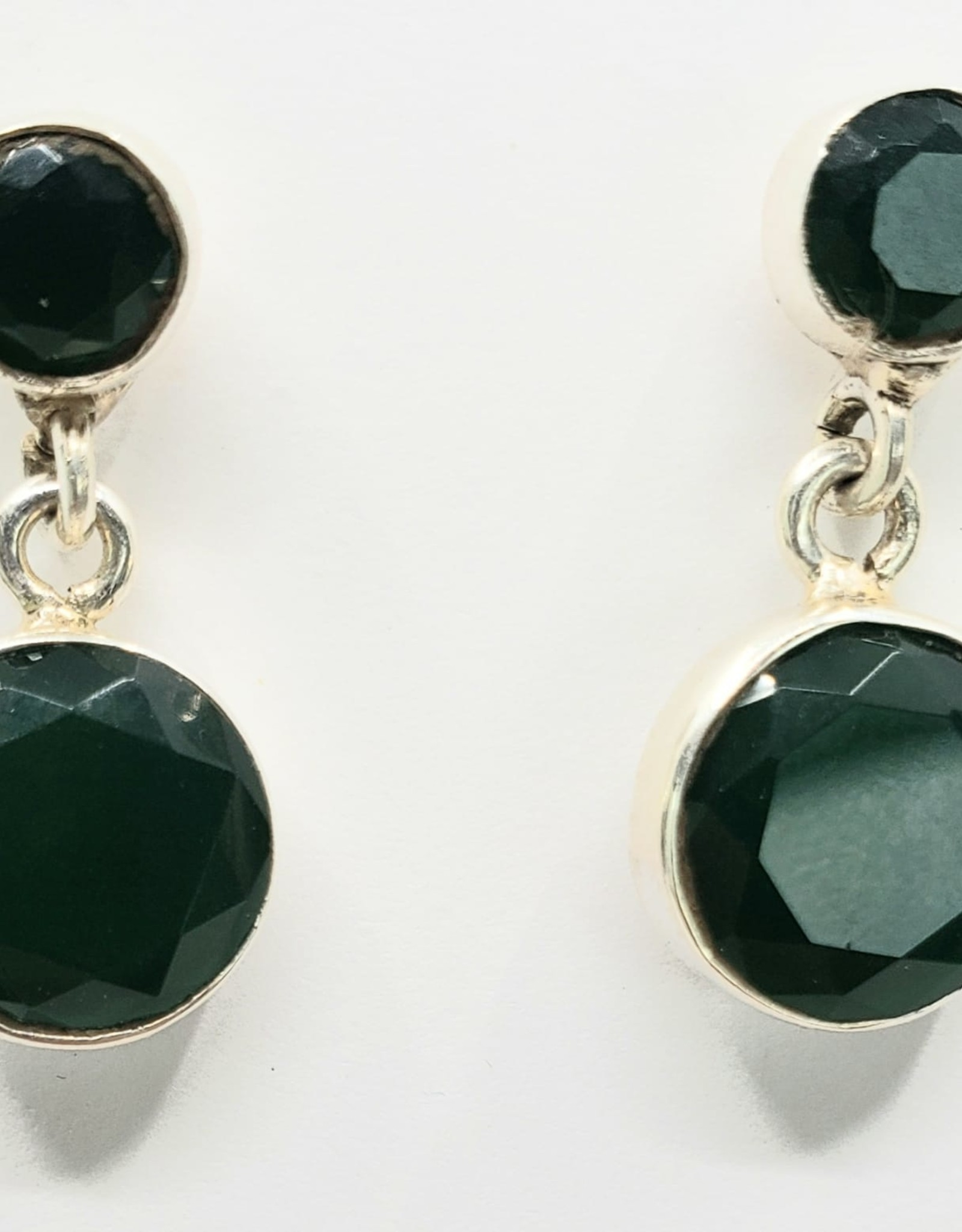 emerald earrings drop with stud posts