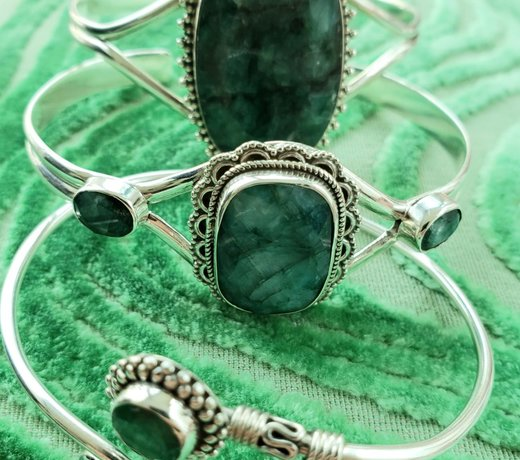 emerald bracelets with sterling silver