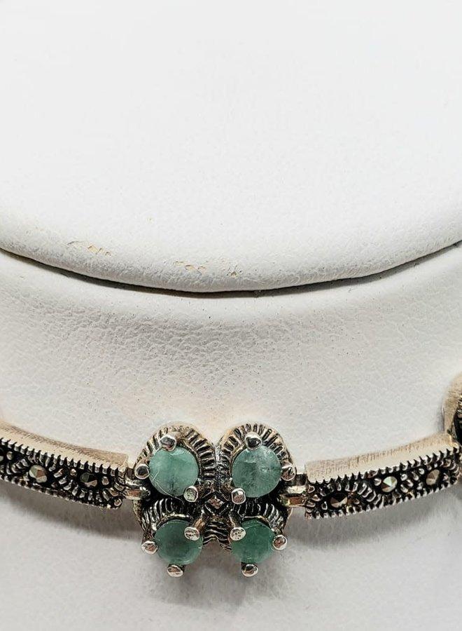 emerald bracelet with marcasite