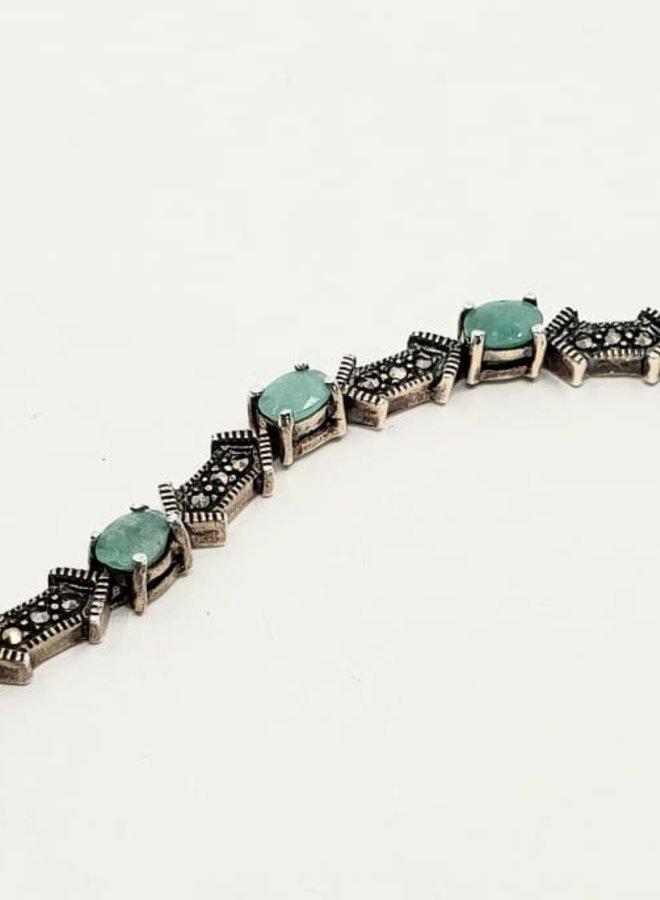emerald and marcasite bracelet