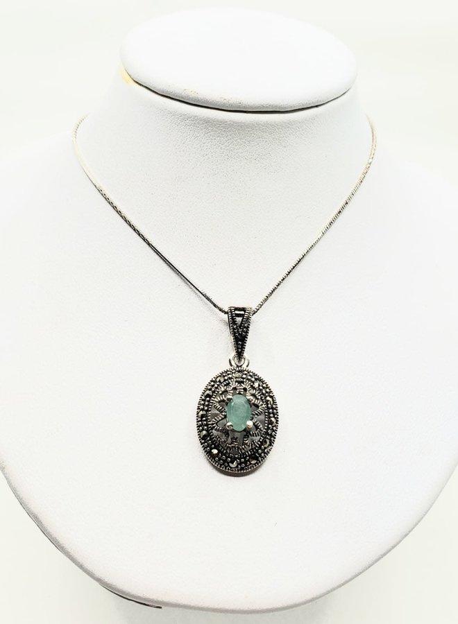 emerald and marcasite pendant