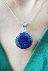 sapphire pendant with silver chain