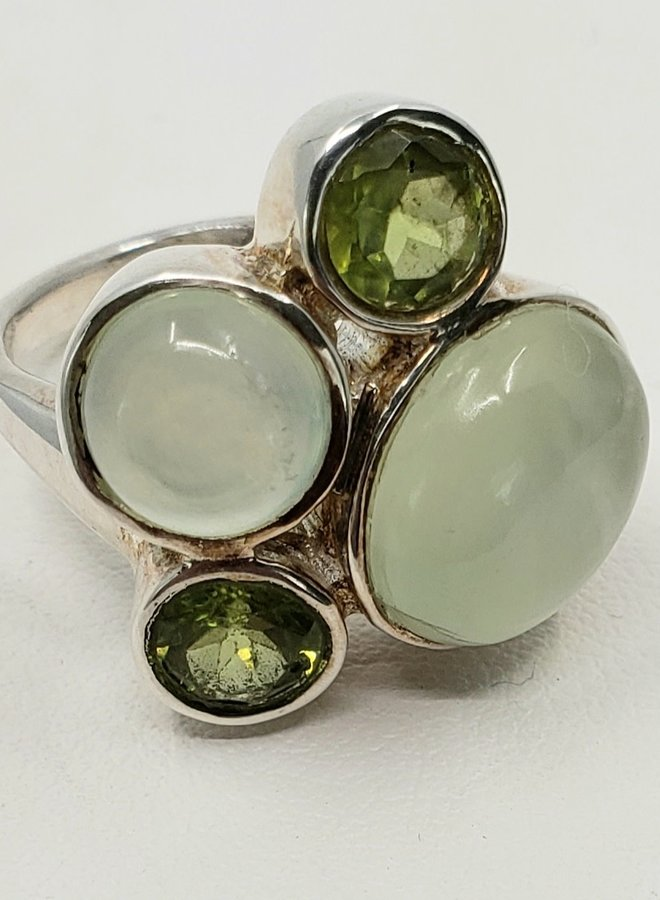 prehnite and peridot ring