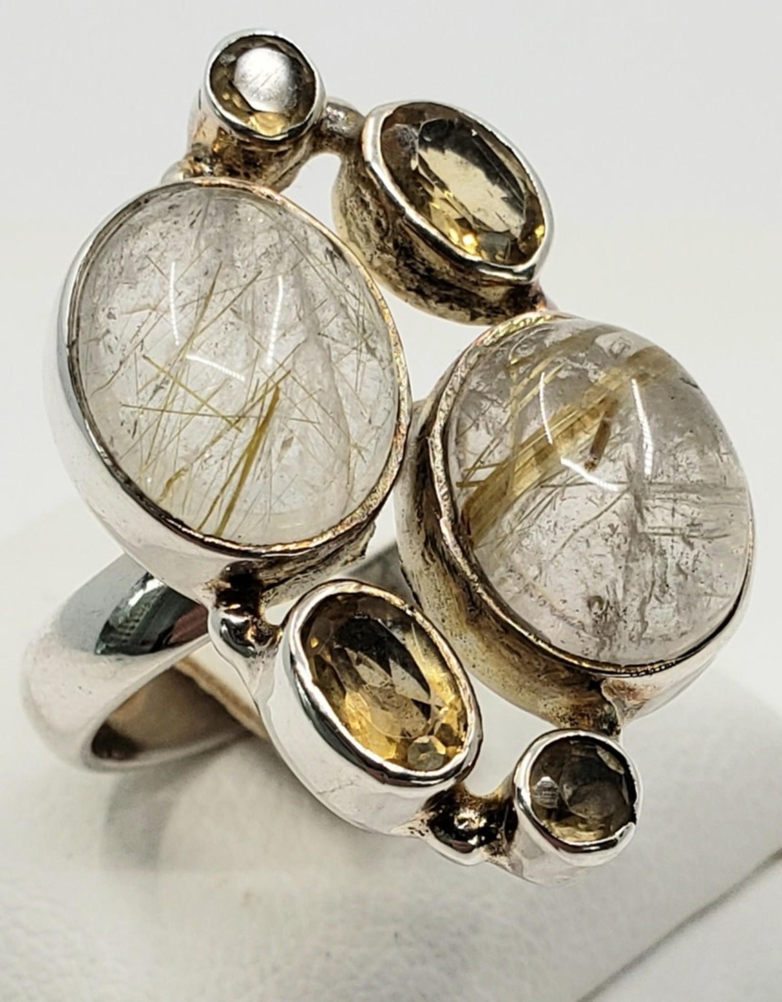 rutile quartz and citrine ring size 7
