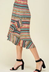 Les Amis striped ruffle skirt