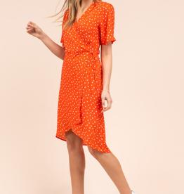 Gilli short sleeve crimson wrap dress