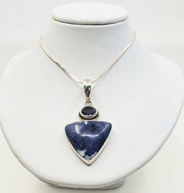 sodalite and kayanite pendant