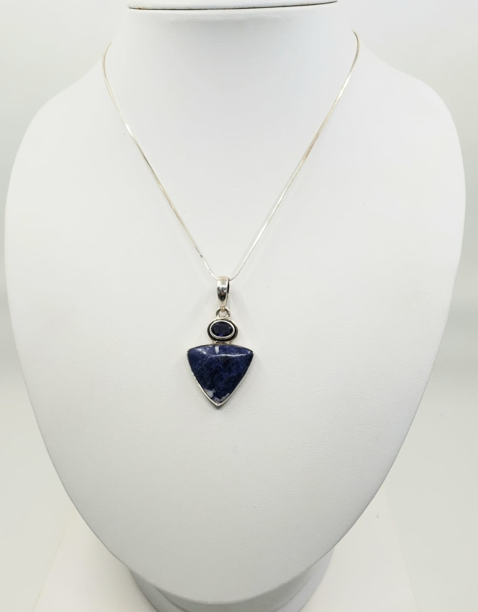 sodalite and kayanite pendant with silver chain