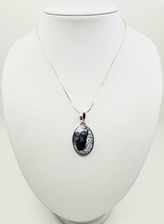 dendrite opal pendant with silver chain