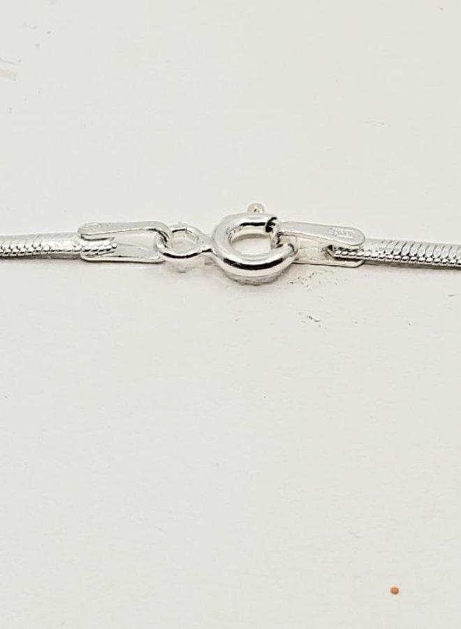 """matte silver flat snake chain 16"""""""