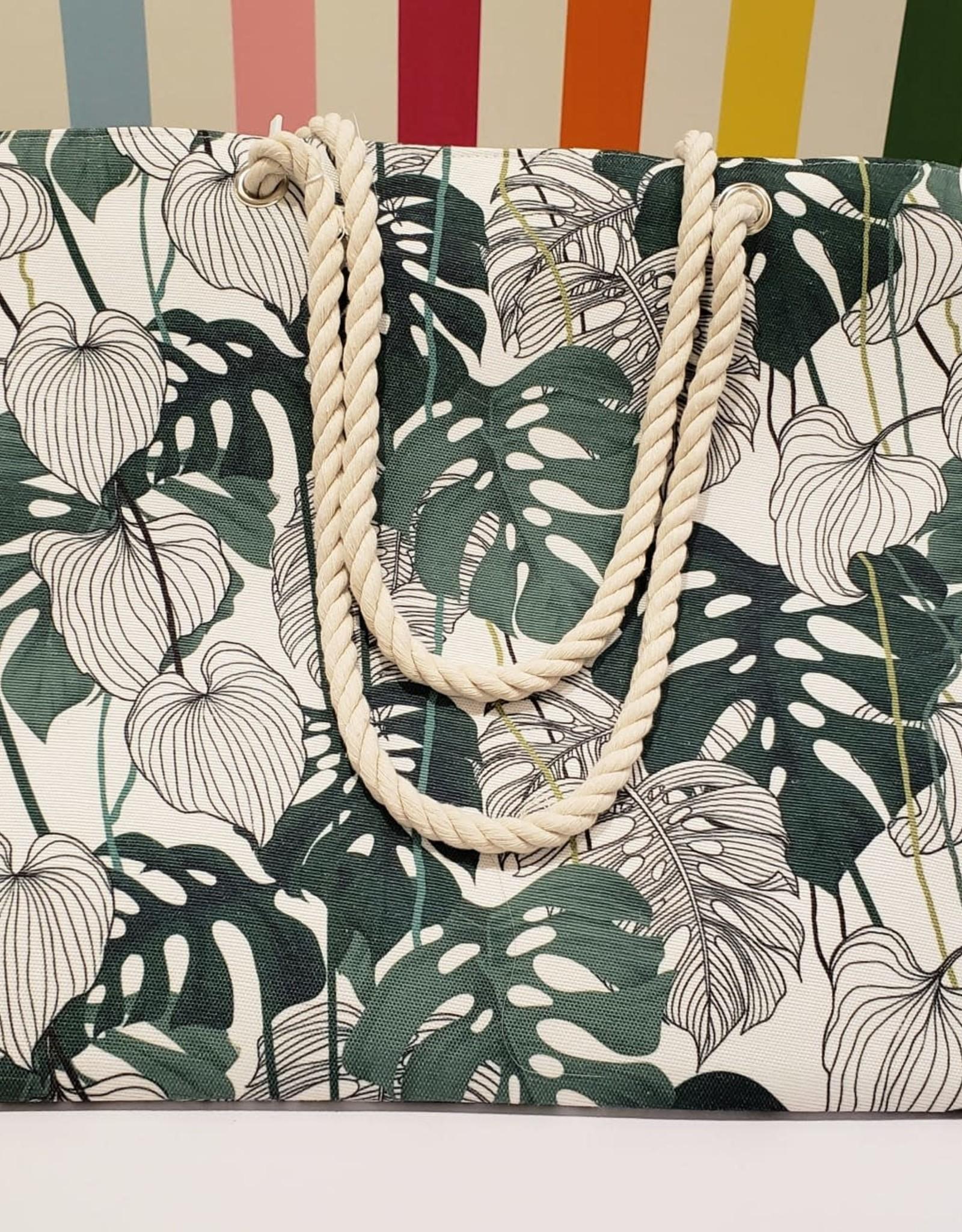multi leaf print canvas shopping bag