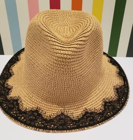 straw hat with lace rim