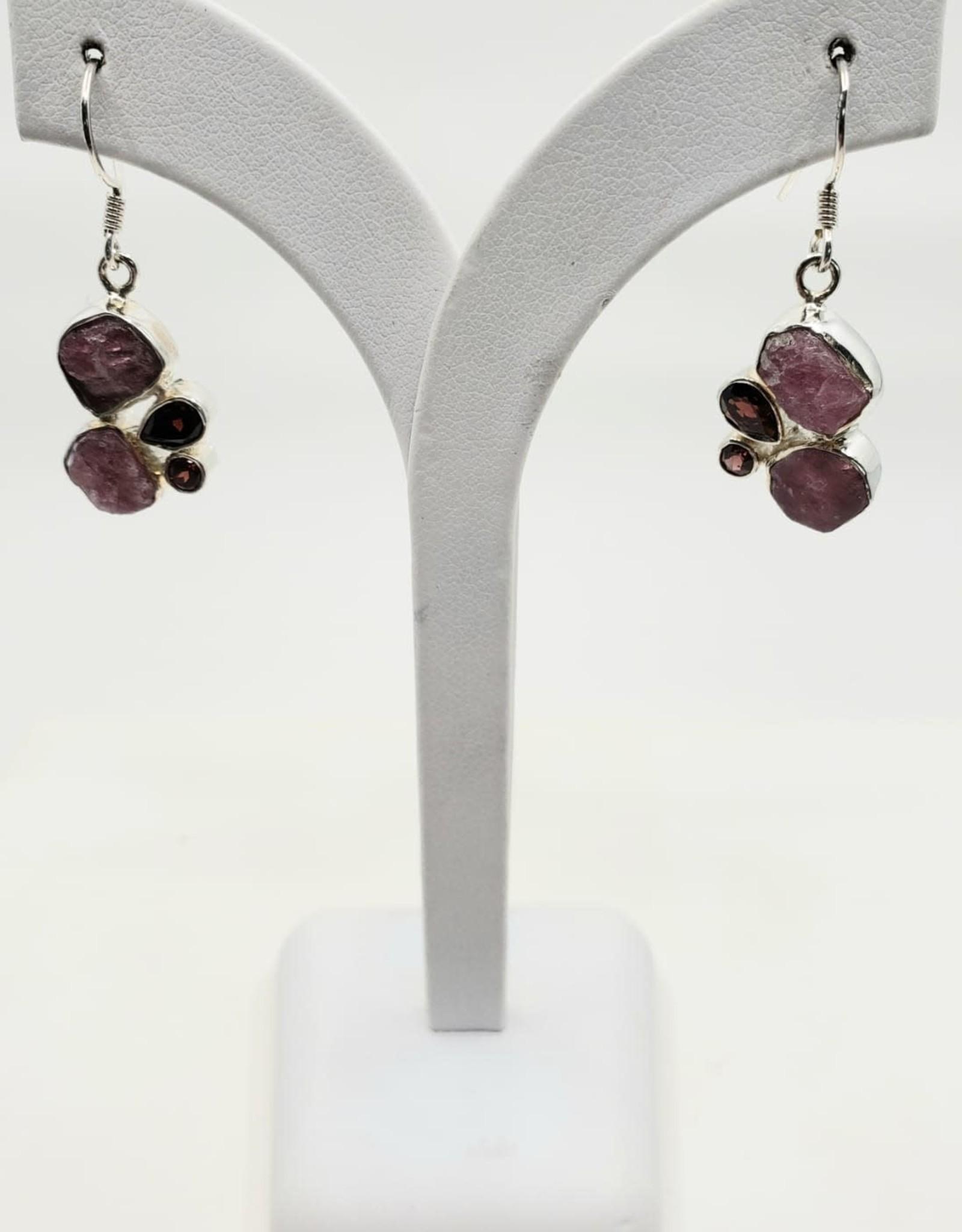 tourmaline and garnet earrings
