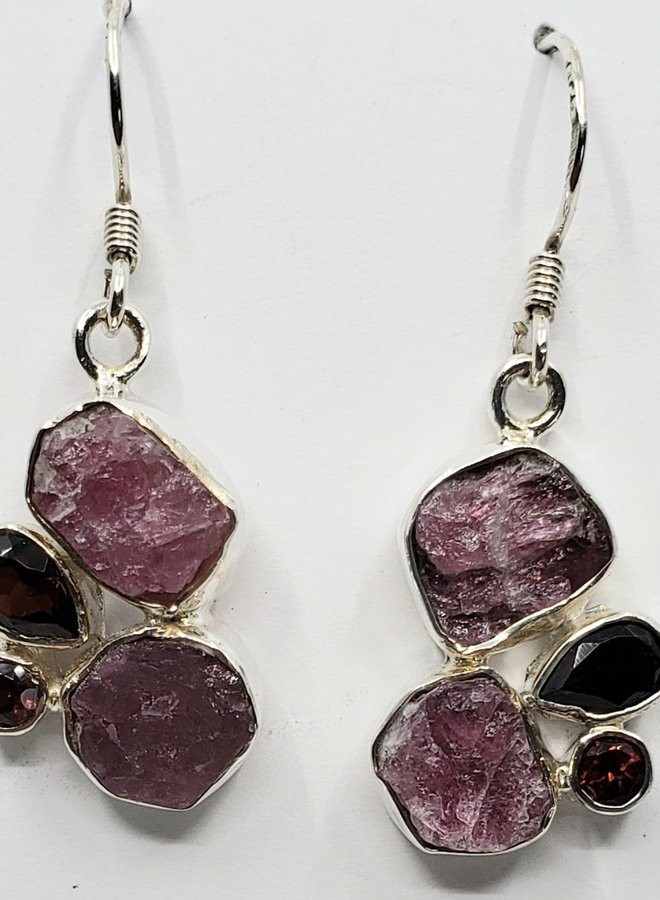 tourmaline and garnet earrings