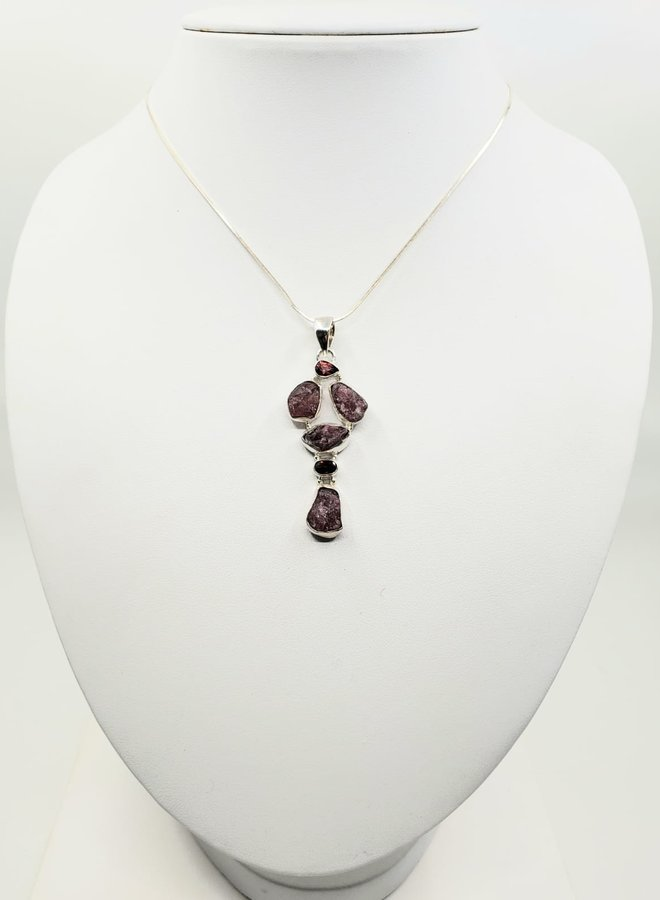 tourmaline and garnet pendant with silver chain