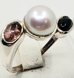 pearl and tourmaline ring size 8