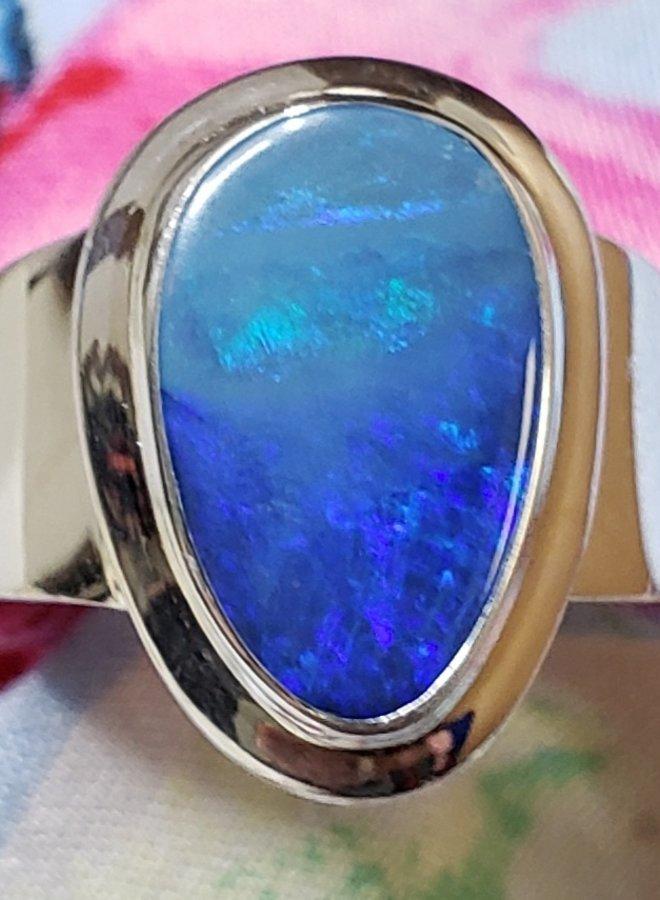 fire blue opal ring size 7