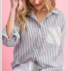 pinstripe button up top