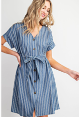 striped knee length dress