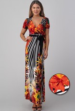Jacaranda long tropical print dress