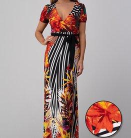 Jacaranda long tropical print dress
