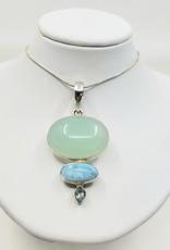 chalcedony, larimar and blue topaz pendant