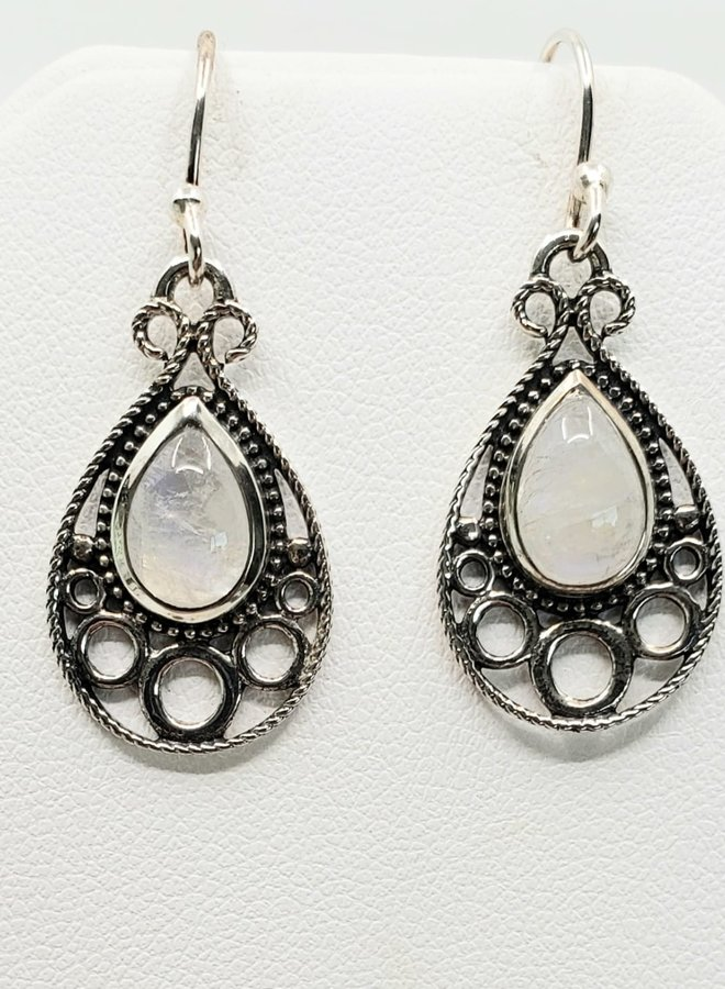 moonstone earrings with design