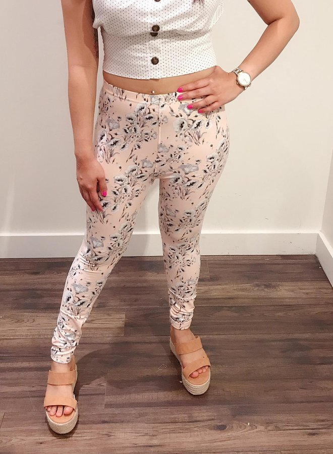 leggings peach with grey flowers