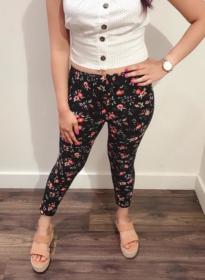 leggings-floral red and blue