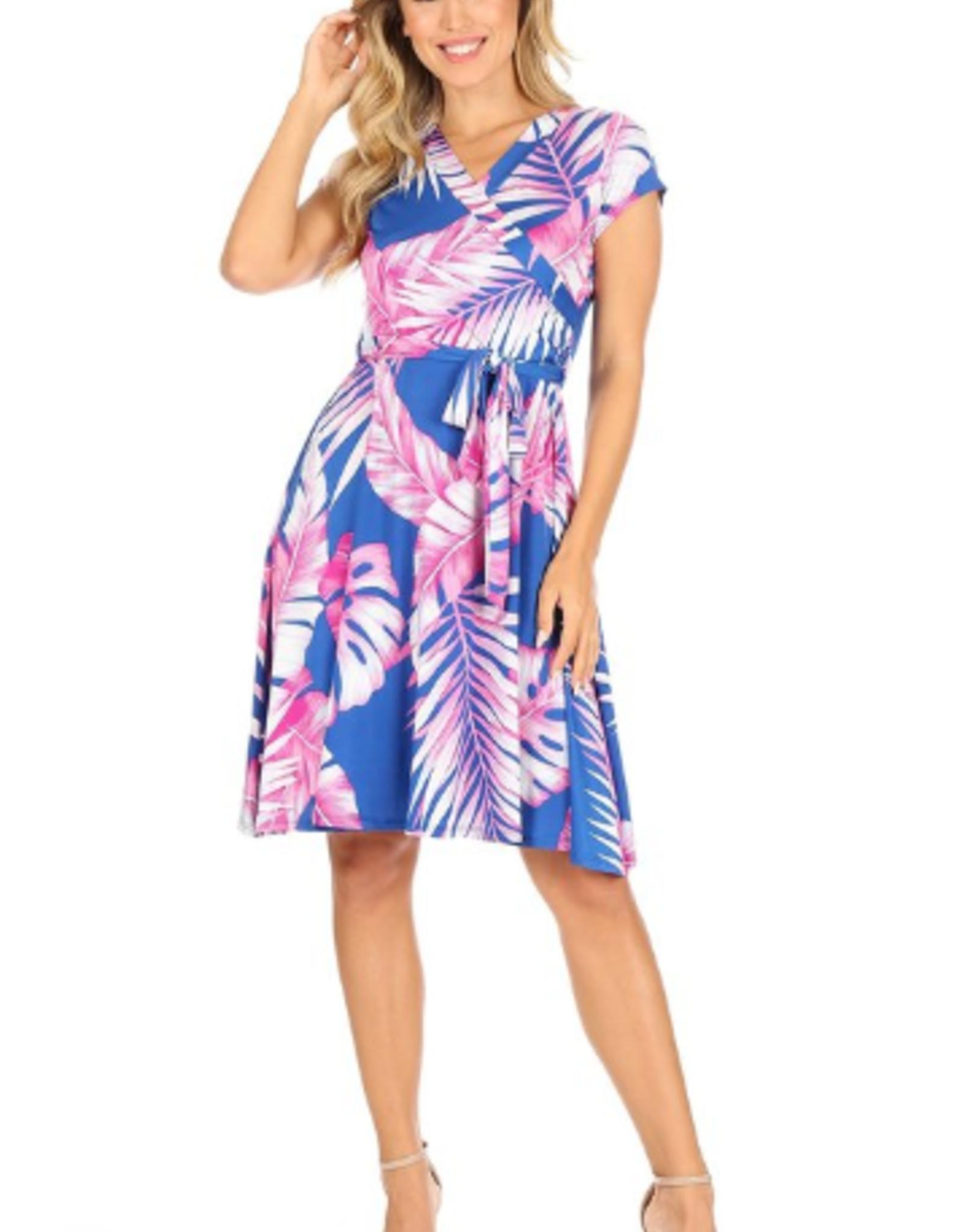 neon tropical print dress
