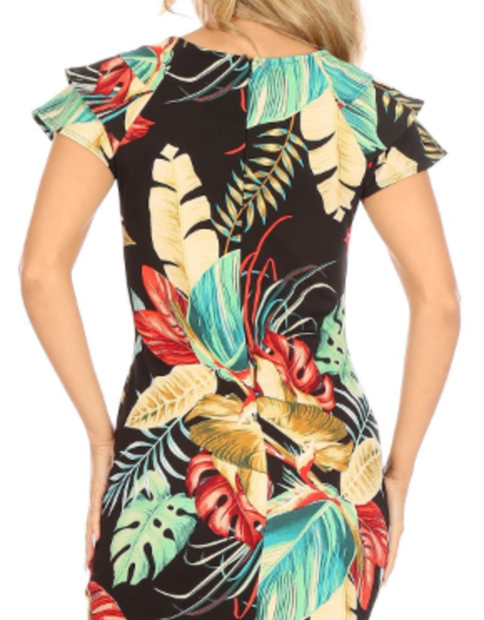 ruffle sleeve tropical print scuba dress