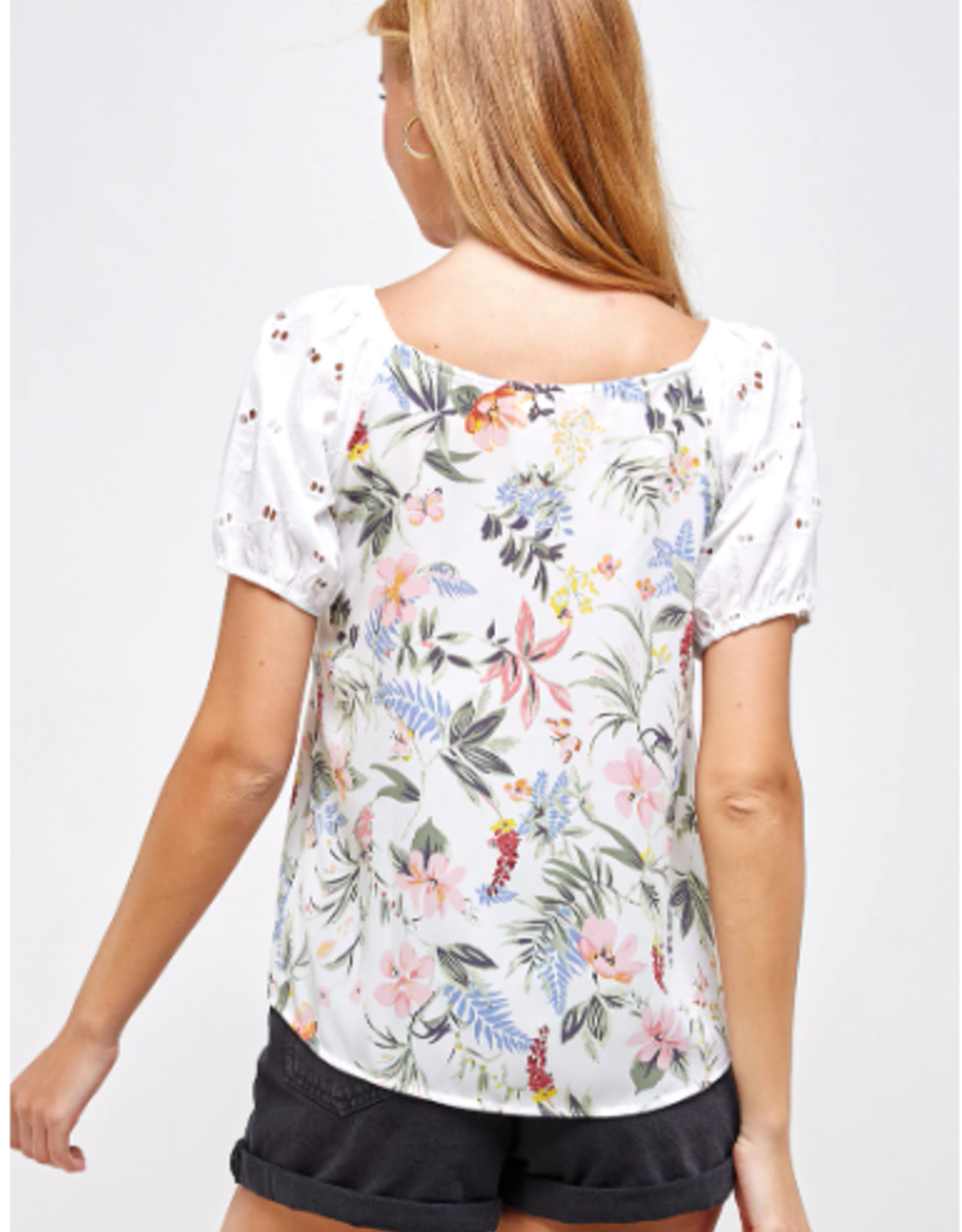 Westmoon floral print top with lace sleeves