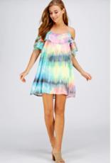 Westmoon cold shoulder dress in tie-dye print