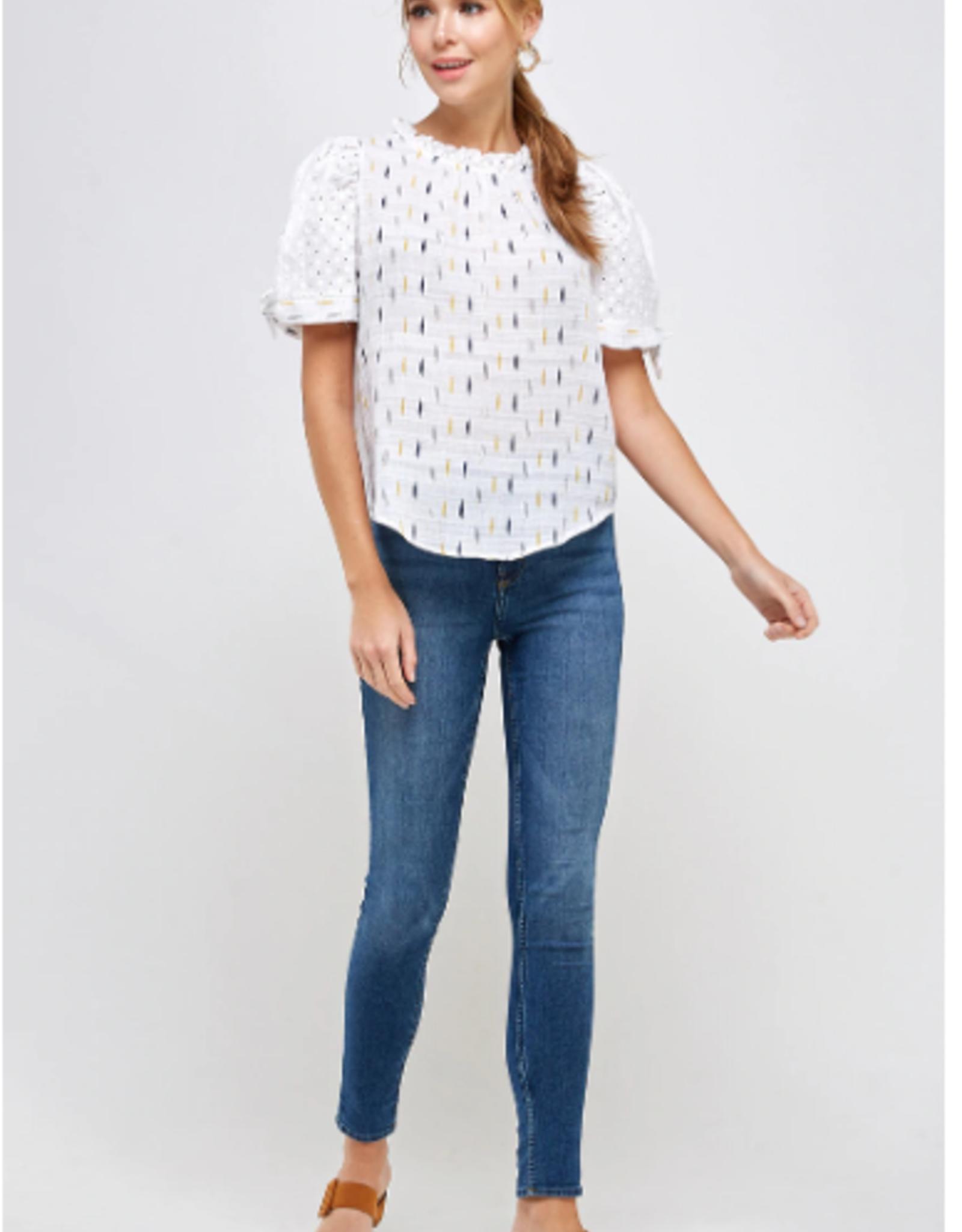 Westmoon Eyelet contrast puff sleeve blouse