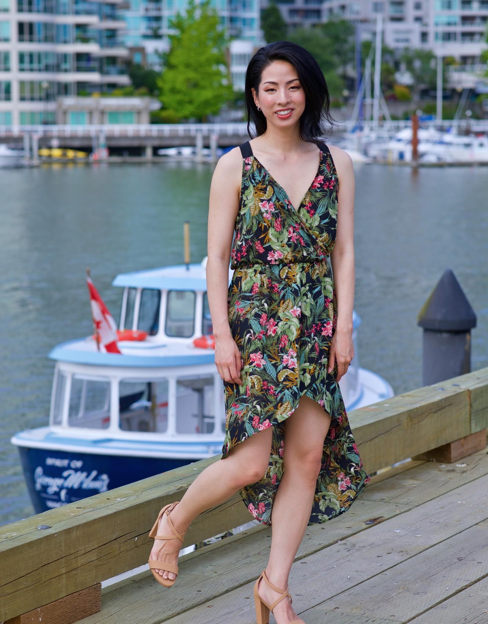 CY Fashion peach print high low dress