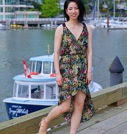 CY Fashion jungle print high low dress