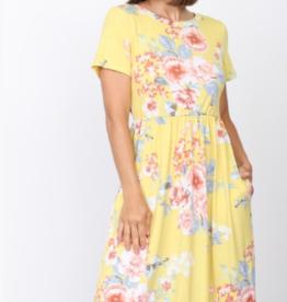 floral short sleeve midi-dress